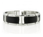 Men's Stainless Steel Bracelet With Black IP Center Accents
