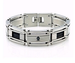 Stainless Steel Men's Bracelet With Black CZ and Cable Inlay