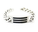 Men's Stainless Steel Bracelet With Curb Chain and Inlaid Cable