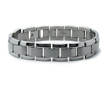 Men's Titanium Bracelet With Brushed Finish Center Links