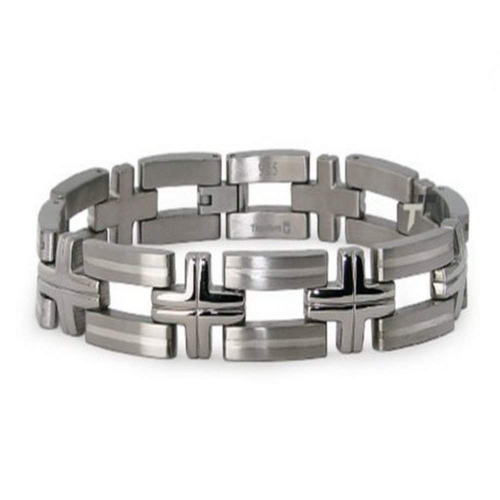 Men's Titanium Bracelet With Cross Links and White Inlay