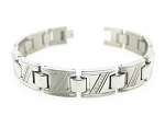Men's Titanium Bracelet With Diagonal CZ Stripes