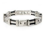 Men's Titanium Bracelet With Black IP Cables and Geometric Links