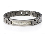 Men's Titanium Bracelet With Hammered Silver ID Centerpiece