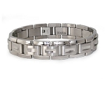 Men's Titanium Bracelet With Classic Brushed Finish Links