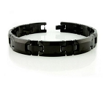 Men's Tungsten Bracelet With Polished Black IP Coating