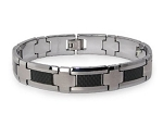 Men's Tungsten Bracelet With Cross Links and Black Carbon Inlay