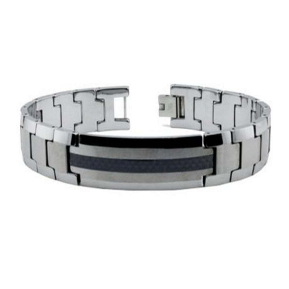 Men's Tungsten Bracelet With Black Carbon Striped ID Plate