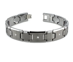 Men's Tungsten Bracelet With Three White Diamonds