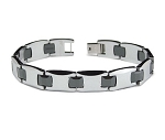 Men's Tungsten Bracelet With Black Ceramic Connectors