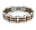 Two Tone Stainless Steel Bracelet For Men With Brown PVD Accents