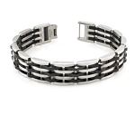 Men's Stainless Steel Bracelet With Black PVD Coated Accents
