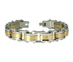 Stainless Steel Bracelet For Men With Two Tone Links and Studs