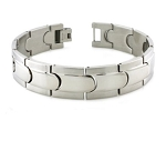 Men's Bracelet in Stainless Steel With Polished Step Down Edges