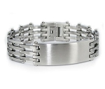Stainless Steel Bracelet For Men With Satin Finish ID Centerpiece