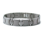 Men's Titanium Bracelet With Satin Finish and Grooved Cross Links