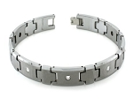 Men's Tungsten Bracelet With Cross Links and Cubic Zirconia