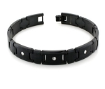 Black Tungsten Bracelet for Men With White Cubic Zirconia