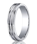 Designer Argentium Silver Satin Bands Wedding Ring with Three Polished Edges | 5mm - JBS1013