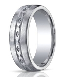 Designer Brushed Argentium Silver Wedding Ring with