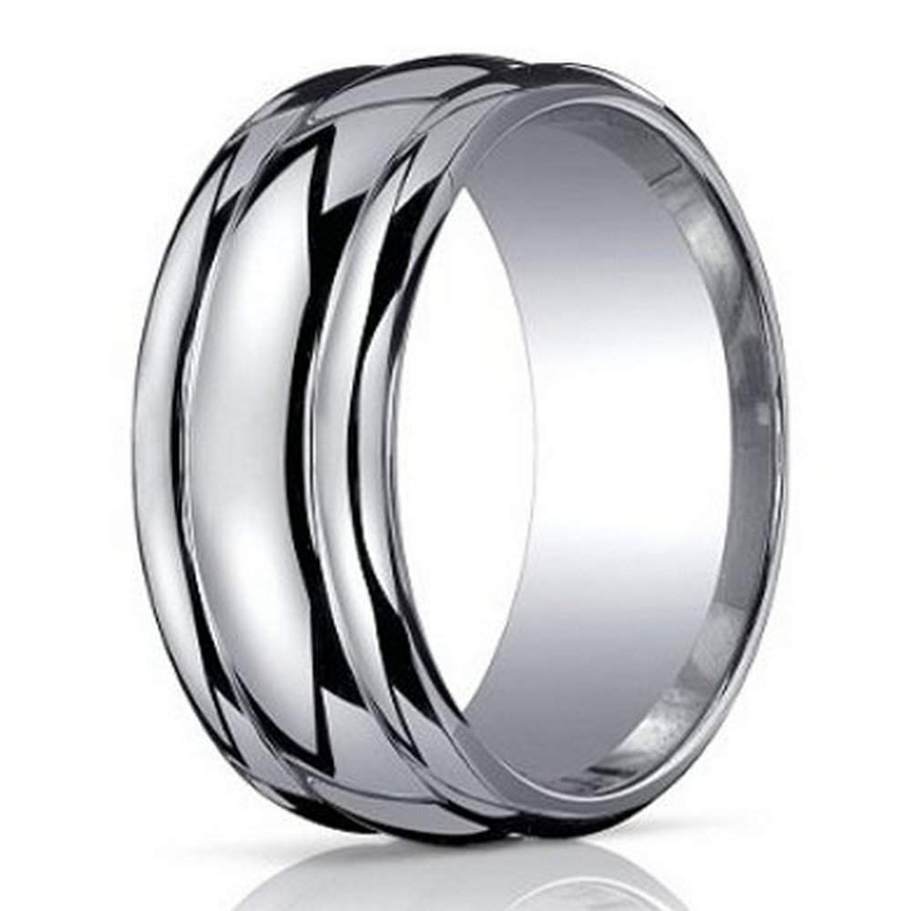 Designer Argentium Silver Wedding Ring with Domed Profile and Polished Finish | 10mm - JBS1022