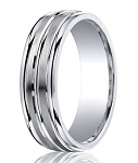 Designer Satin Finished Argentium Silver Wedding Band with Three Polished Bands | 7mm - JBS1023
