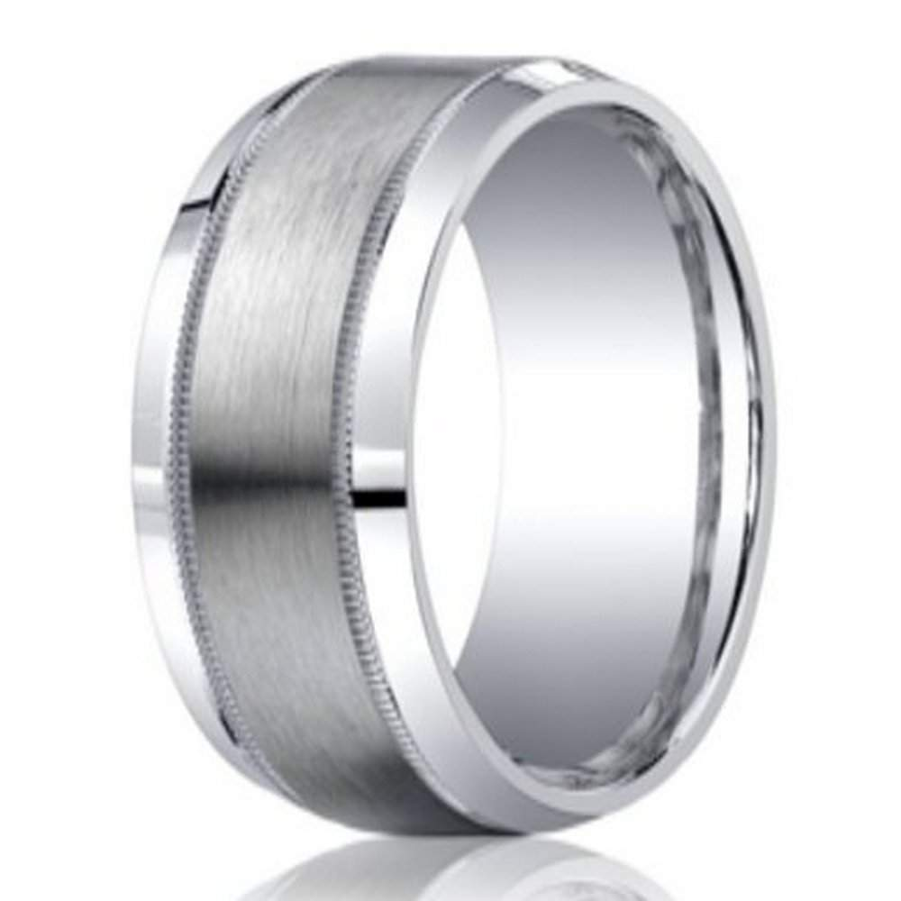 designer argentium silver mens ring with milgrain edge 9mm - Black And Silver Wedding Rings