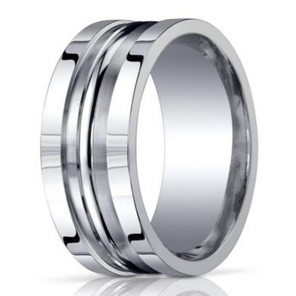 Designer Argentium Silver Mens Wedding Ring With Grooves