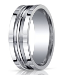 Designer Argentium Silver Men's Wedding Ring With Grooves | 10mm