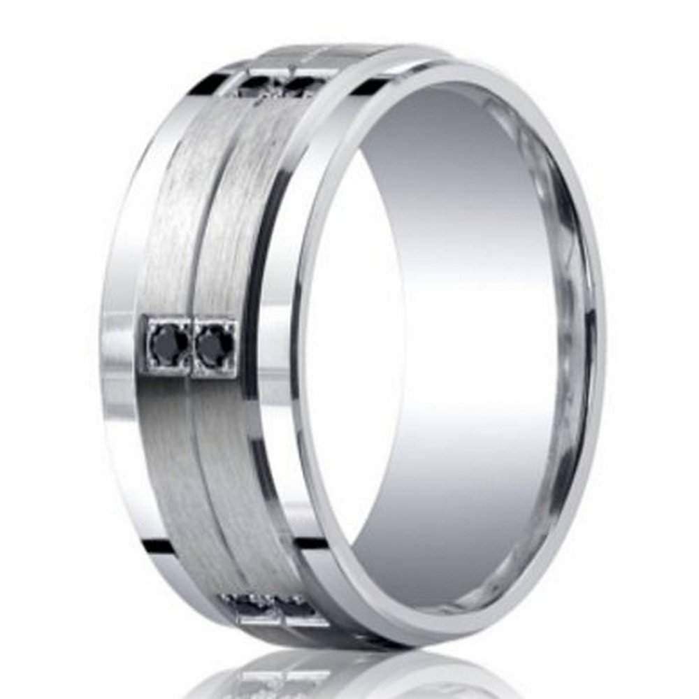 9mm benchmark argentium silver wedding ring with black diamonds