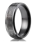Men's Designer Titanium Ring with Cathedral Crosses | 9mm - JBT1001