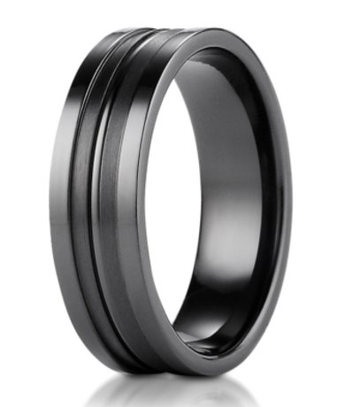 On Sale Men's Designer Black Titanium Ring with Satin Grooved Center | 8mm
