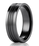 Men's Benchmark Black Titanium Ring with Satin Grooved Center | 8mm - JBT1002