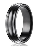 Men's Designer Black Titanium Wedding Ring with Rounded Edge Design | 7.5mm - JBT1009