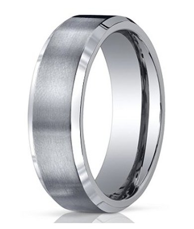 Mens Wedding Bands Titanium.Men S Designer Titanium Wedding Band With Satin Finish And Polished Edges 7mm Jbt1012