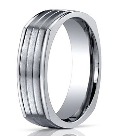 Men's Designer Four-Sided Titanium Wedding Ring with Horizontal Grooves | 7mm - JBT1014