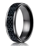 On Sale - Designer Black Titanium Wedding Ring with Carbon Fiber Inlay | 8mm