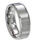Men's Cobalt Chrome Wedding Ring with Satin Face and Polished Beveled Edges | 6mm - JCB0101