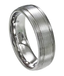 Men's Cobalt Chrome Wedding Band with Satin Finish and Two Grooves | 8mm - JCB0105