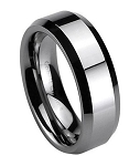 Men's Cobalt Chrome Wedding Ring with Flat Profile, Beveled Edges and Polished Finish | 7mm - JCB0107