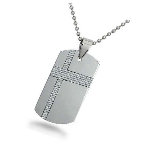 Information on types of pendants for men justmensrings tungsten dog tag for men with white carbon fiber cross jn1020 aloadofball Choice Image