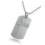 Tungsten Dog Tag for Men with White Carbon Fiber Cross - JN1020