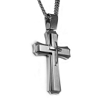 Mens Stainless Steel Cross Pendant with Brushed and Polished Finish - JN1022