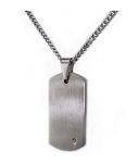 Men's Stainless Steel Dog Tag Pendant With White Diamond