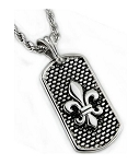 Men's Stainless Steel Pendant With Fleur de Lis and Rope Chain