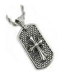 Men's Stainless Steel Pendant With Cross And Oxidized Accents