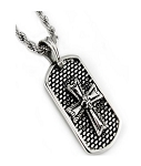 Men's Stainless Steel Pendant With Cross and Fleur de Lis