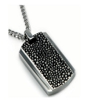 Men's Stainless Steel Pendant With Oxidized Accents