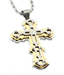 Two Tone Stainless Steel Cross Pendant With Screw Accents