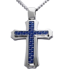 Men's Cross Pendant in Stainless Steel With Blue Carbon Fiber Inlay